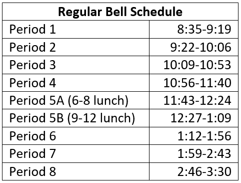 Regular Schedule
